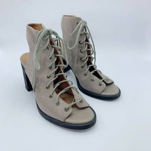 Free People Sandal Shoes Beige Lace Up Open Toe